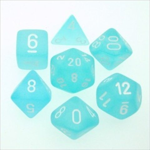 Teal with White: Frosted Polyhedral Dice Set (7's) CHX 27405
