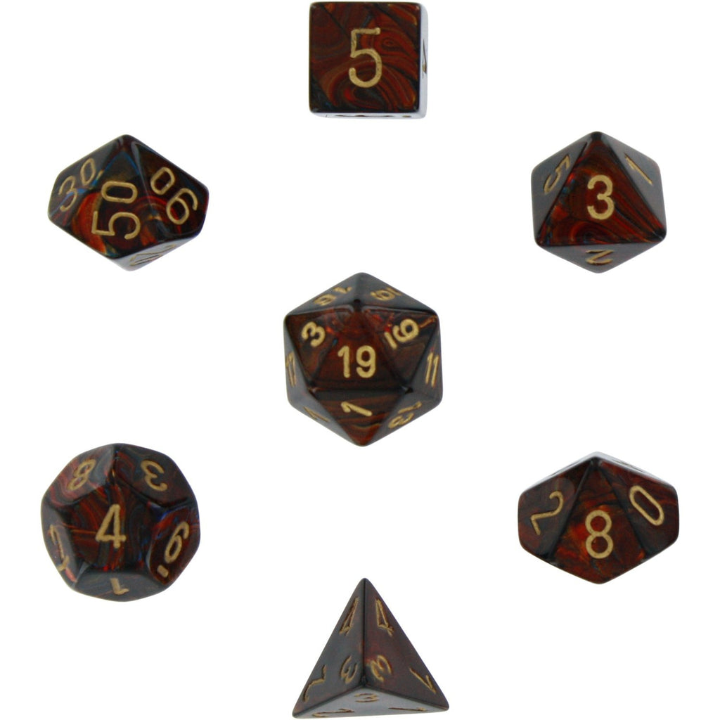 Blue Blood with Gold: Scarab Polyhedral Dice Set (7's) CHX 27419
