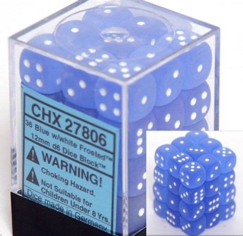 Blue with White: Frosted 36d6 12mm Dice Set CHX 27806