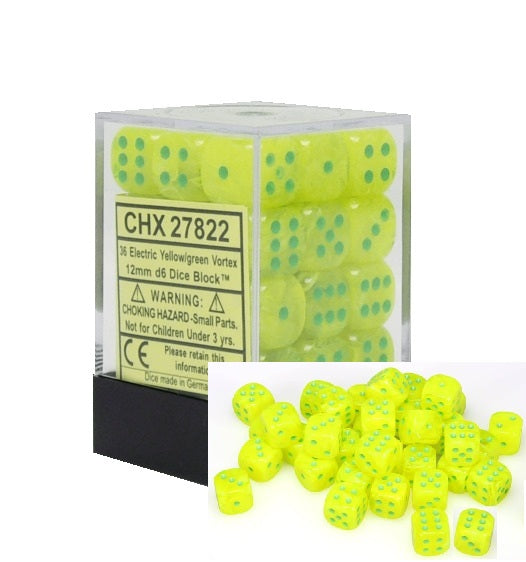 Electric Yellow with Green: Vortex 36d6 12mm Dice Set CHX 27822