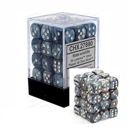 Slate with White: Lustrous 36d6 12mm Dice Set CHX 27890