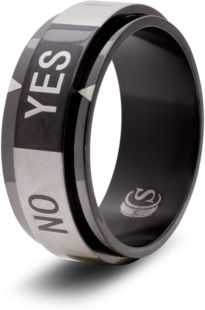Yes / No Decision Dice Ring (Black - Size 08): CritSuccess