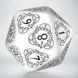 D20 Level Counter White & Black Die (1) QWS 20LEV02