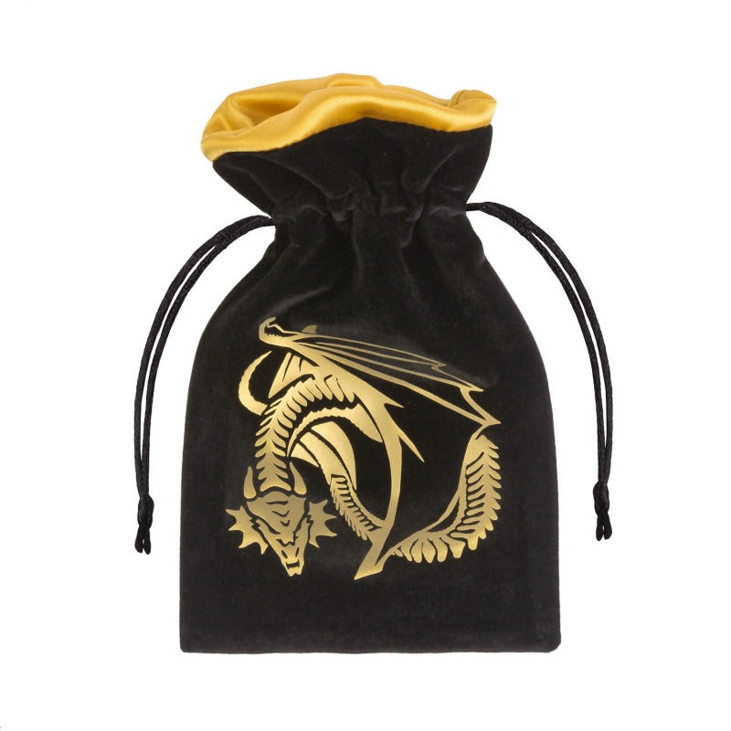 Dragon Black & Golden Velour Dice Bag QWS BDRA121