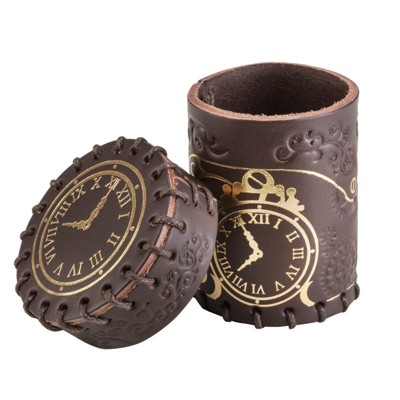 Steampunk Brown & Golden Leather Dice Cup QWS CSTE102