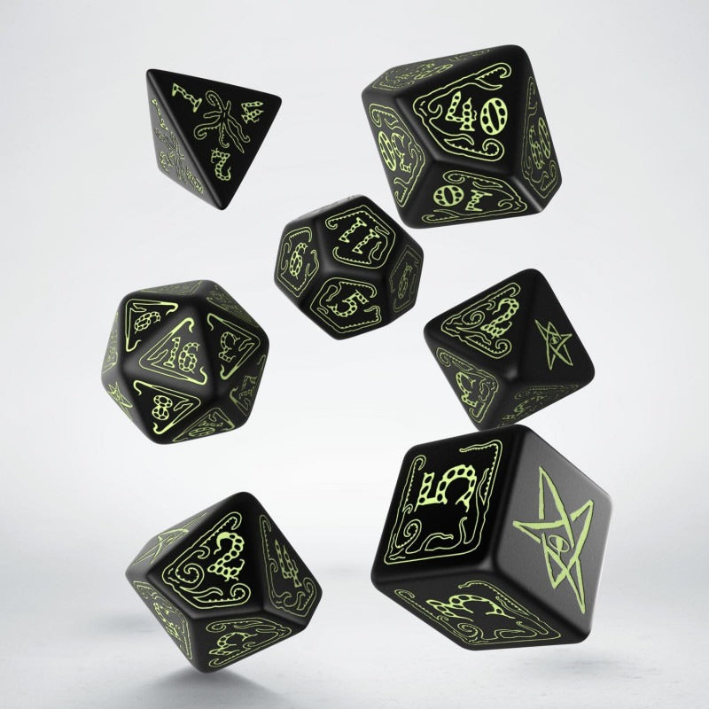 Call of Cthulhu Dice Black & Glow-in-the-Dark Dice Set (7) QWS SCTH19