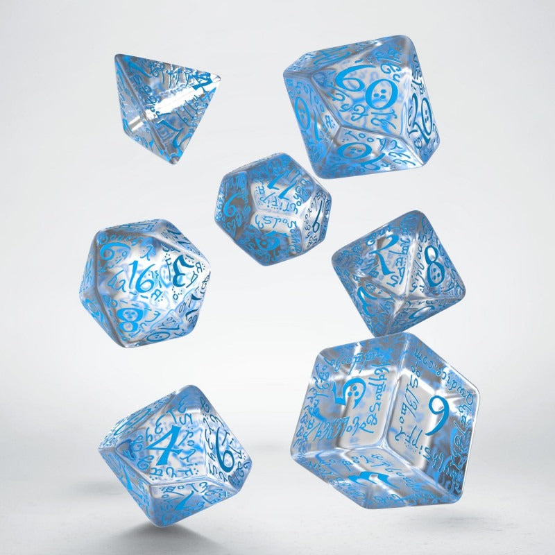 Elvish Translucent & Blue Dice Set (7) QWS SELV11