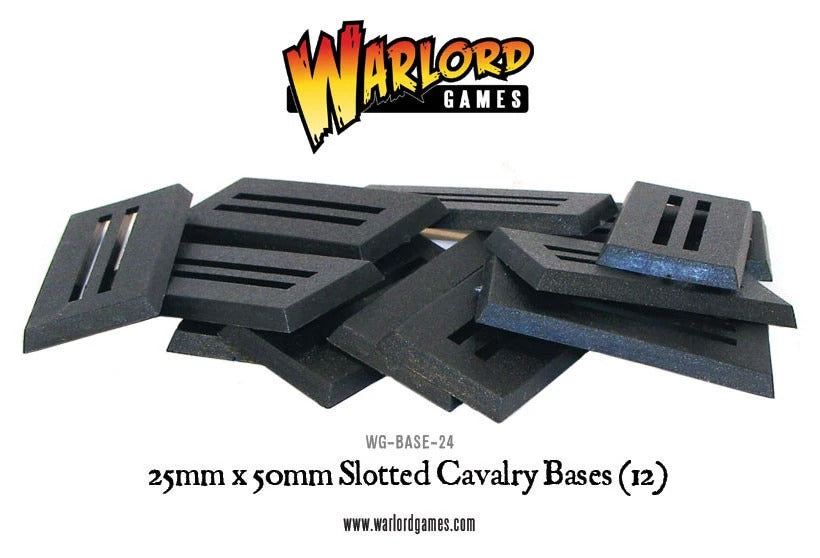 25mm x 50mm Cavalry Slotted bases (12): Warlord Games WLG WG-BASE-24