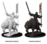 Orc on Dire Wolf: Pathfinder Battles Deep Cuts WZK 73547