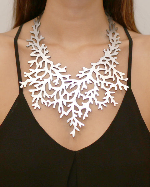 Coral Necklace Silver