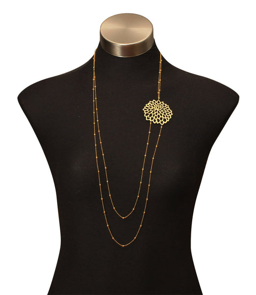 Double Daisy Chain Necklace Gold