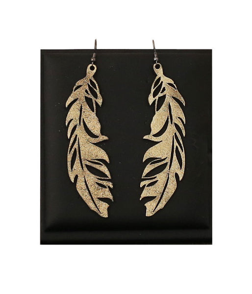 Feather Earrings Large Silver