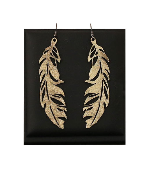 Feather Earrings Large Gold