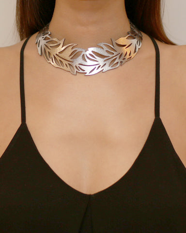 Feather Collar Silver