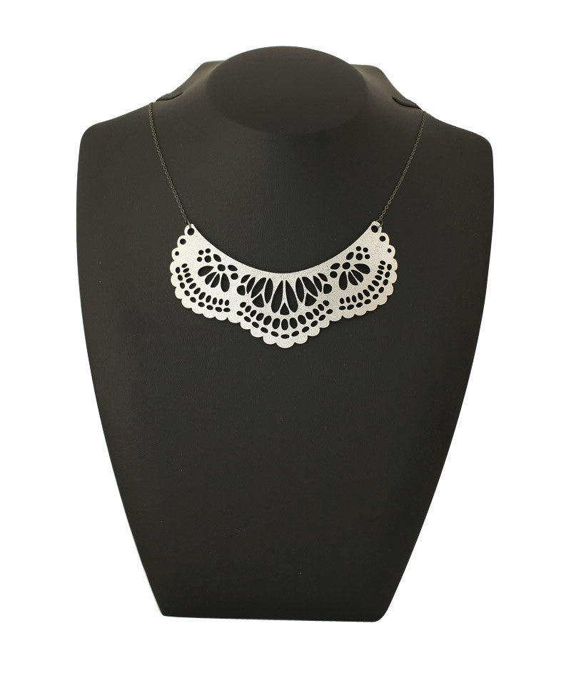 French Collar Necklace Silver
