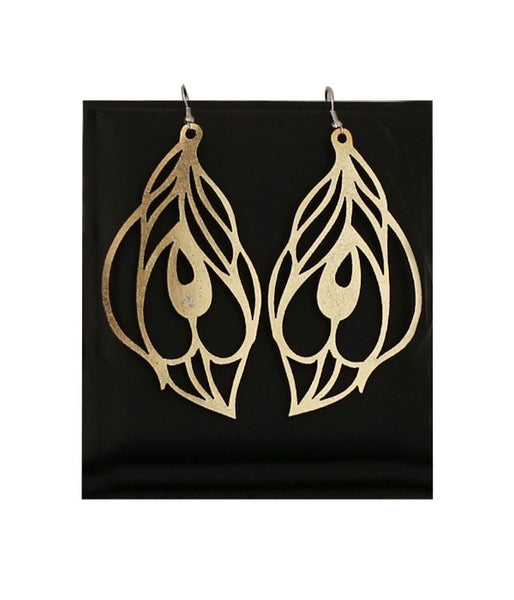 Peacock Earrings Large Gold