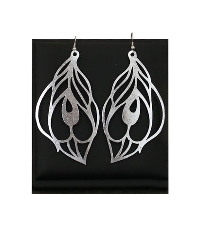Peacock Earrings Large Silver