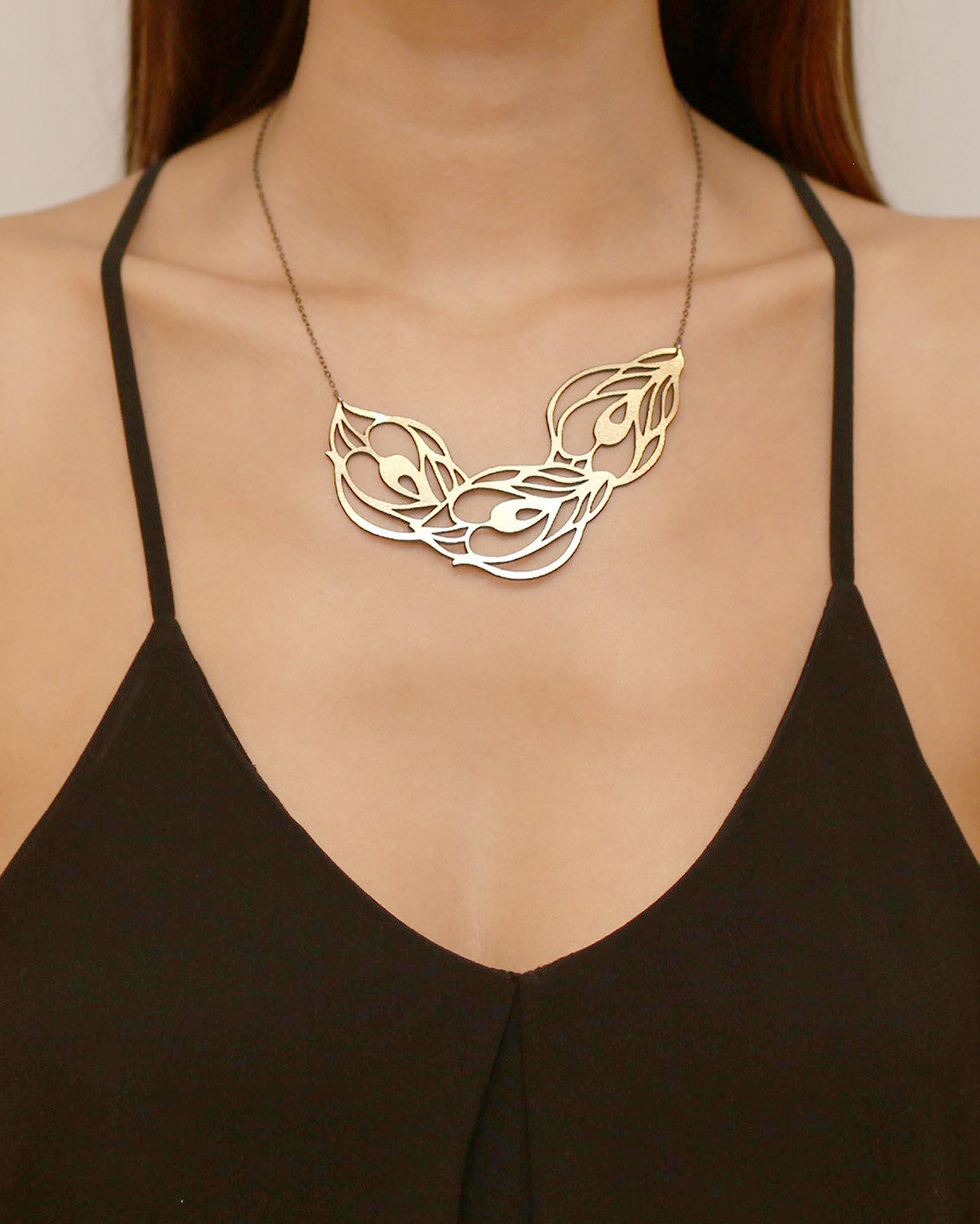 Peafowl Necklace Gold