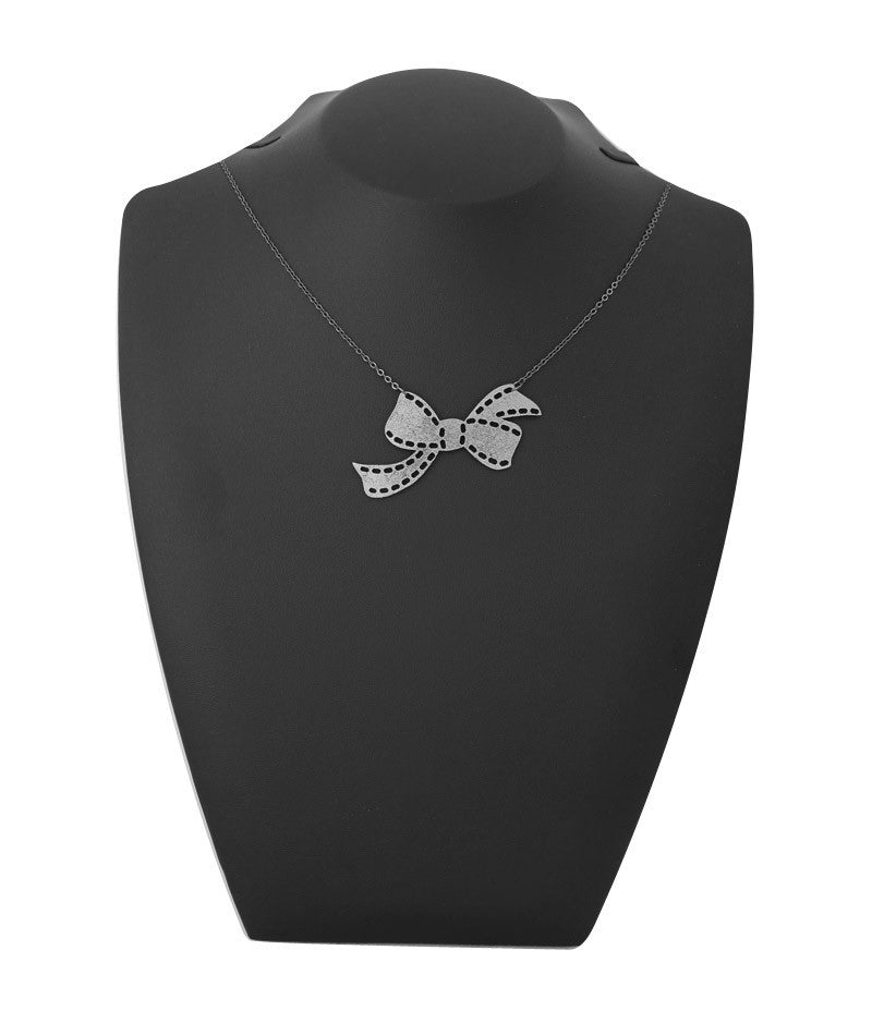 Sweetheart Bow Necklace Silver