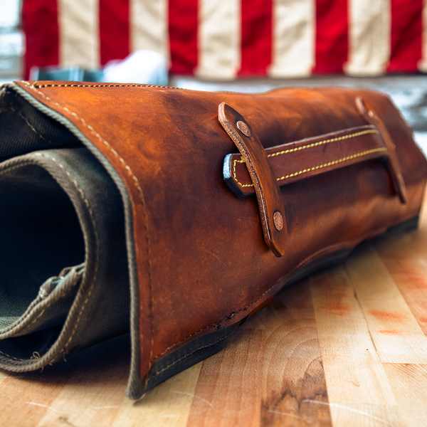 MOTOR OIL - WAXED CANVAS & LEATHER KNIFE ROLL