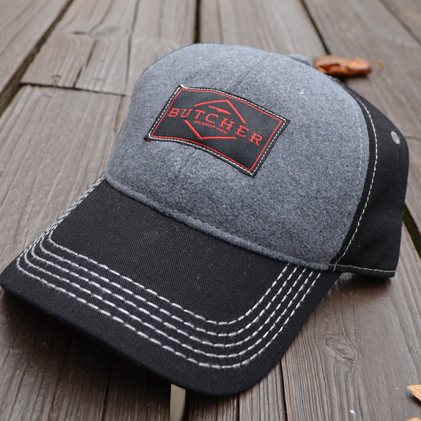 BLACK AND GREY WOOL CHEF'S CAP