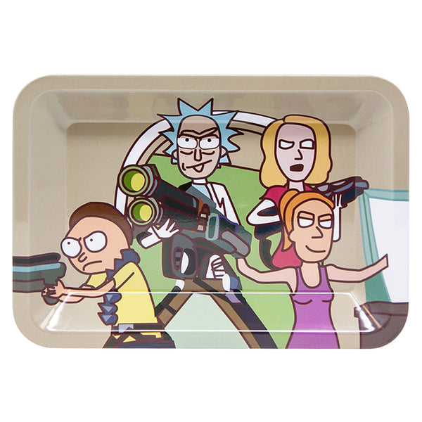 Rick and Morty on a metal rolling tray