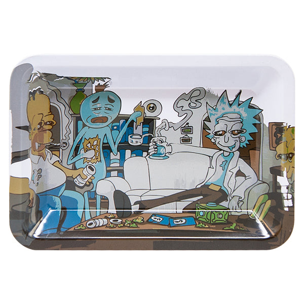 Rick and Morty meets The Simpsons for dabs , metal rolling tray