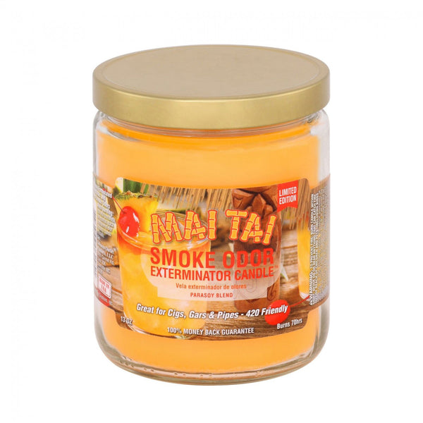 Smoke Odor Exterminator Candles are great for cigars, cigarettes, and pipes. Enzyme formulated candle, attacks and removes smoke odors when burning. Each candle weighs 13 oz. and will burn for approximately 70 hours.These fragrant candles make wonderful gifts even for non-smokers!  MAI TAI-LIMITED EDITION