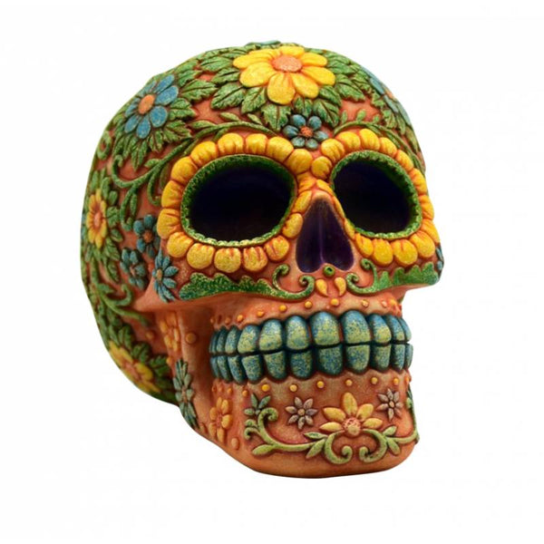 "4.5"" x 6"" Orange Day of the Dead Skull Coin Bank"