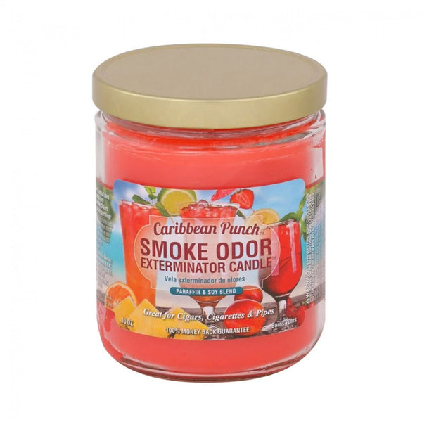 Smoke Odor Exterminator Candles are great for cigars, cigarettes, and pipes. Enzyme formulated candle, attacks and removes smoke odors when burning. Each candle weighs 13 oz. and will burn for approximately 70 hours.These fragrant candles make wonderful gifts even for non-smokers!  Caribbean Punch-Limited Edition