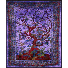 "84"" x 100"" Double Tapestry - Purple Tree of Life"