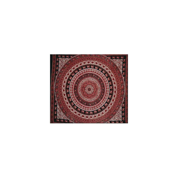 "84"" x 100"" Double Tapestry - Red Elephant"