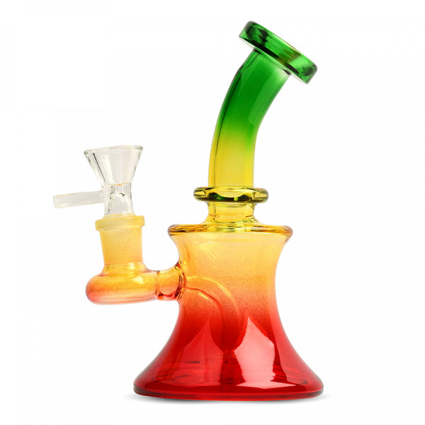 Dayglo Rasta 5 inch bubbler with perc.