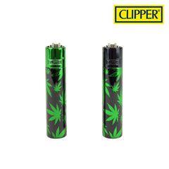 Clipper Green Leaves Metal Lighter