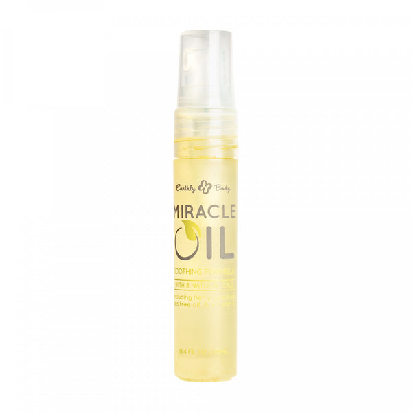 Slim clear spray tube with golden color oil inside with Miracle Oil label