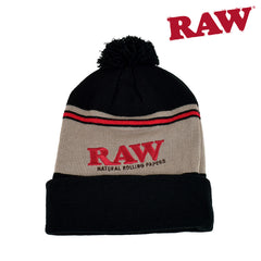 RAW Pompom Hat Black & Brown