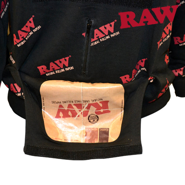 Rolling Papers x RAW Rawlers HoodieUnisex Made of Comfy and Durable Sweater Material Built-in Rolling Tray Pouch Removable Velcro Face Mask Custom Pockets to hold your Raw Papers, Lighters, and everything else you need to roll!