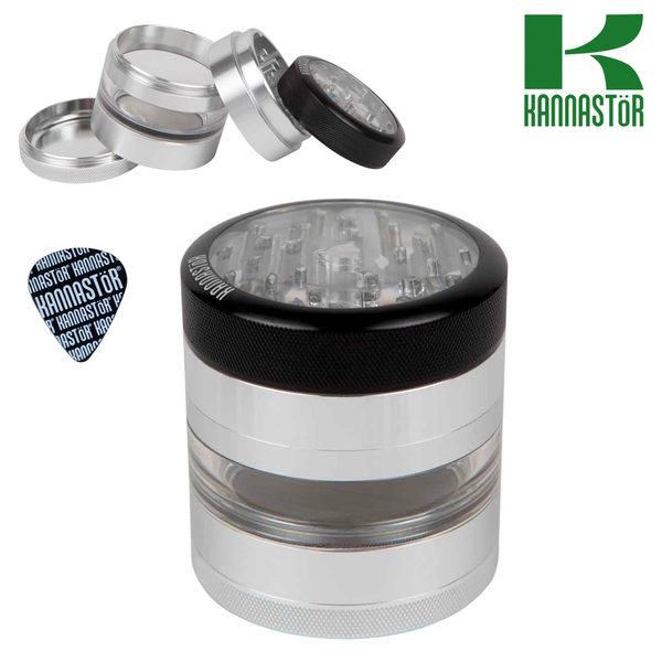 4 Piece Kannastor Metal Grinder with Glass Center.
