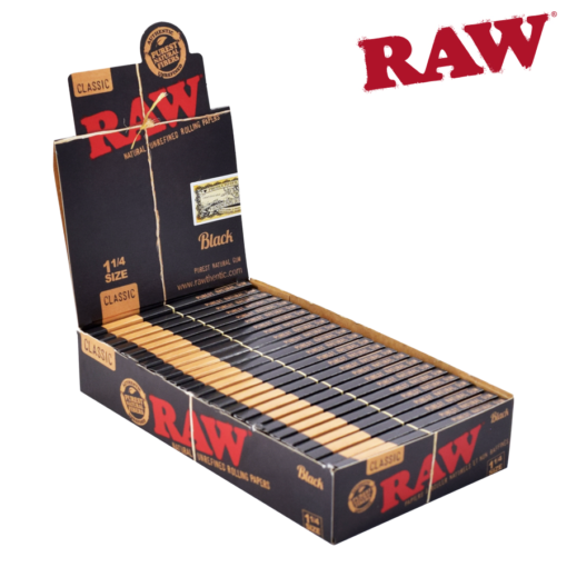 Raw Black Rolling Papers 1 1/4 Size