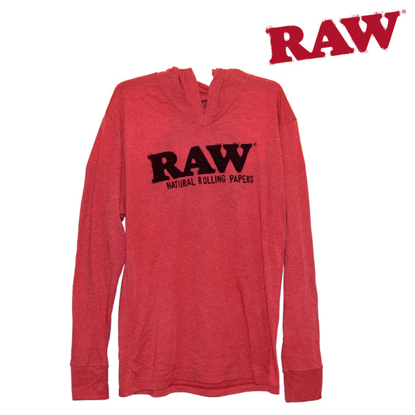 RAW Lightweight Pullover Hoodie in Red. Head Shop Vancouver Canada.