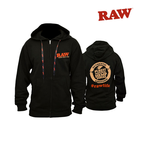 Raw Black Zipper Hoodie. Available in Small-XXLarge