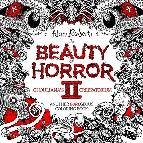 Front cover of the Beauty of Horror 2 Colouring Book.  Mainly black and white with some red in the design.