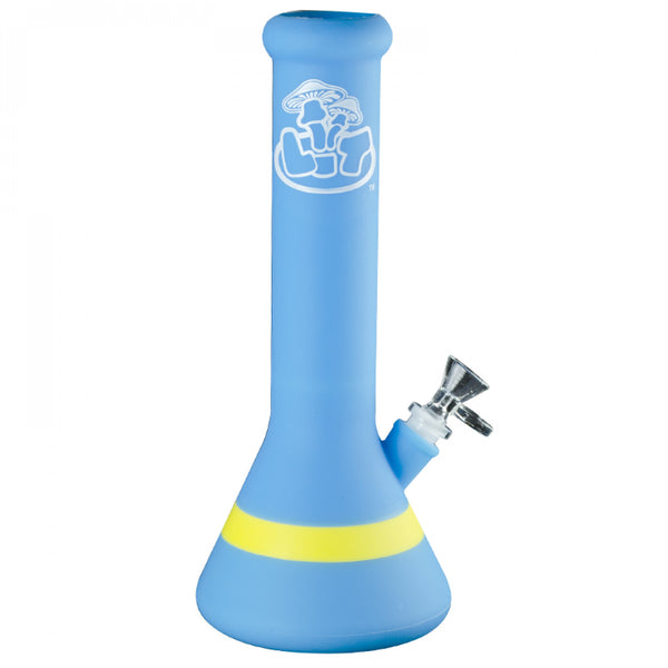 light blue bong with yellow stripe at the bottom, glass bowl and Lit logo.