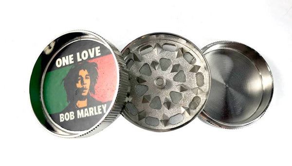 Metal 3 Piece Grinder with Bob Marley Decal