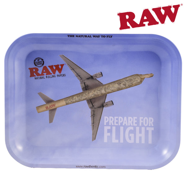 RAW Metal Rolling Tray with Plane in the Sky with Joint as the Plane's Body.  Headshop Vancouver Canada.