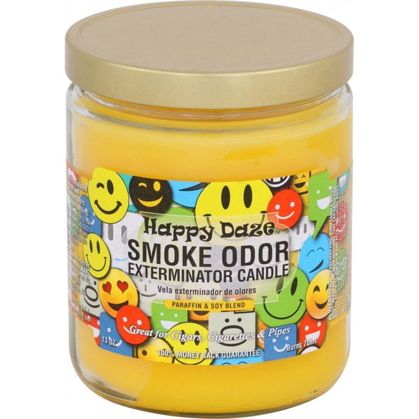 Happy Daze Smoke Odor Candle in Glass Jar with Gold Lid
