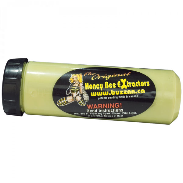 Green plastic tube with black lid and Honey Bee Extractor Decal