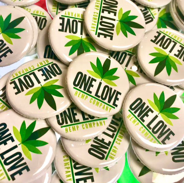 One Love Hemp Company Button.  Hand made with love from SWAG. Headshop Vancouver Canada