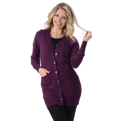 Women's Hemp Long Cardigan Plum
