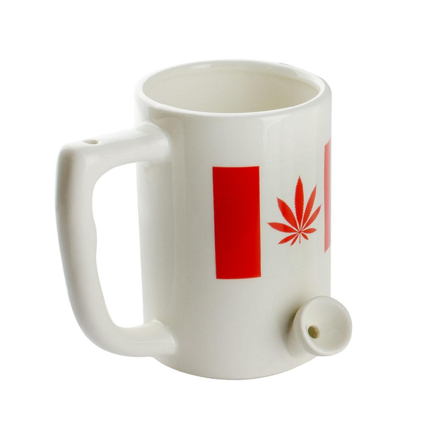 Ceramic Coffee Mug Pipe w/ Cannabis Flag